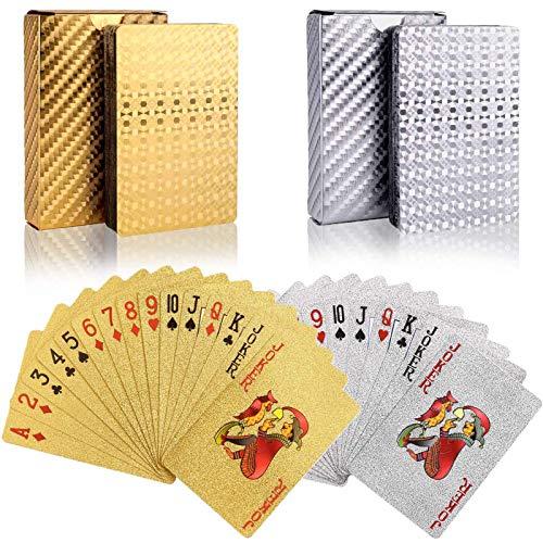 wdede Cartes à Jouer en Plastique 2PCS Jeu Carte Etanche Jeux de Carte Poker Plastique Jeu de Carte Magie pour la Fête et Le Jeu, d'or,Argent
