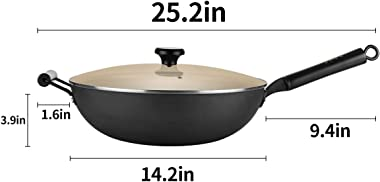 Carbon Steel Wok, 14 inch Nonstick Fry Wok Cooking Wok Pan Chinese Iron Pot for Electric, Induction and Gas Stoves Cooking