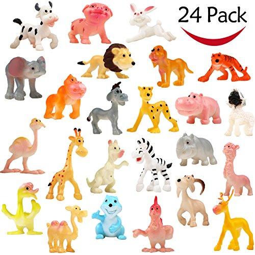 Animali Giocattolo, Confezione con 24 Modelli di Animali Selvatici Piccoli in Plastica, Funcorn Toys Animali Giungla Personaggi Per Bambini E Bambine Bomboniere Premi Scolastici Regali Di Compleanno