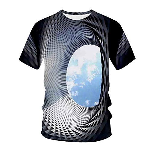 T-Shirt Top Bluse Männer Frauen Frühling Sommer Casual Slim 3D Printed Kurzarm (M,1Schwarz)