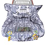 Shopping Cart Cover for Baby Cotton High Chair Cover Full Safety Harness, Machine Washable and Waterproof for Infant, Toddler, Boy or Girl Large