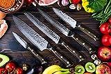Stallion Damastmesser Ironwood Messerset - Messer aus Damaststahl und mit Griff aus Eisenholz inklusive Messerblock - 4