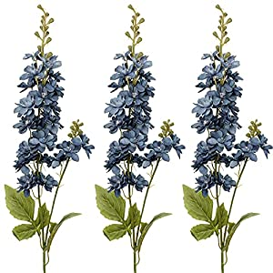 Faux Flower Delphinium Fake Flower Long Stem Artificial Delphinium Stem Faux Flower Arrangement for Home Office Garden Decor- Blue Flower 3 Pcs
