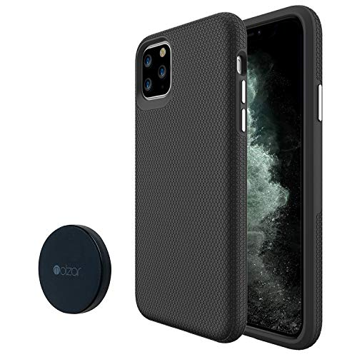 """Molzar Shield Series iPhone 11 Pro Max Case, Built-in Metal Plate,Magnetic Phone Mount Included, Wireless Charging Support, Compatible with Apple iPhone 11 Pro Max(6.5""""), Black"""