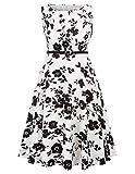 Mujeres Vestido Floral sin Mangas Casual Elegante Fiesta Vestido Blanco S