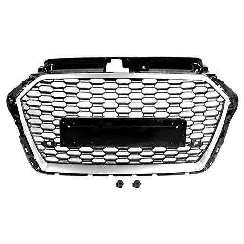 YRRC-ZT Grill,Für RS3 Stil Auto Honeycom Mesh Grill Haube Grille Geändert Zubehör Silber Schwarz Fit für Audi A3/S3/8V 2017 2018 2019 Keine Logo