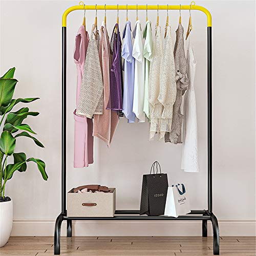 JTRHD Coat Stands Standing Stand-alone Clothing Rack Standard Bar Clothing Rack Has a Simple Appearance for Office Bedroom Closet (Color : Yellow, Size : 60x44x142cm)