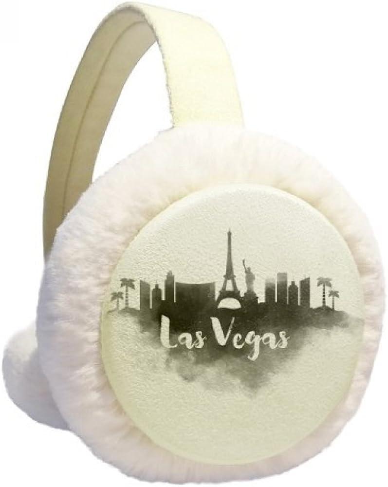 Las Vegas America Landmark Ink City Painting Winter Ear Warmer Cable Knit Furry Fleece Earmuff Outdoor