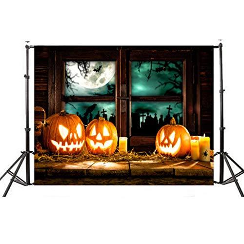 VEMOW Halloween Party Dekoration Kulissen Kürbis Vinyl 5x3FT Laterne Hintergrund Fotografie Studio Wandaufkleber 150 * 90cm(Mehrfarbig, 150 * 90cm)