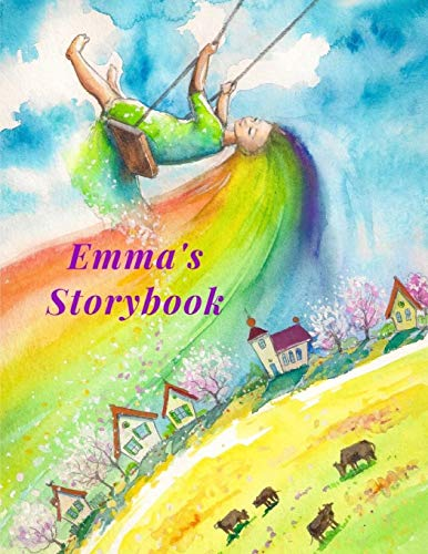 Emma's Storybook: Children's drawing and handwriting practice book ages 3 +, Pre K through 3rd grade, picture box with title, five lines below to write stories 110 pages