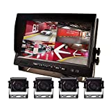 9' AHD Truck Parking Backup System & Built-in DVR Surveillance IPS Screen 4 Cameras 4-Channel Separate 720P HD Recording for Truck Bus Trailer Motorhome 12V-24V No-Light Night Vision 4-PIN Shockproof