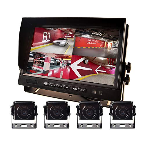 """9"""" AHD Truck Parking Backup System & Built-in DVR Surveillance IPS Screen 4 Cameras 4-Channel Separate 720P HD Recording for Truck Bus Trailer Motorhome 12V-24V No-Light Night Vision 4-PIN Shockproof"""