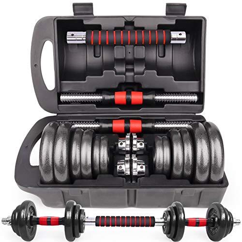 【3in1連結可能 】ダンベル 可変式 鉄アレイ【収納ケース付き】 10kg 20kg 30kg 40kg 50kg 2個セット アジャスタブル【延長用シャフト】バーベルにもなる 赤/青/黒 (赤黒20kg(10kgx2)箱付き-S1)
