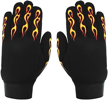 Hot Leathers Yellow and Red Flame Mechanic Gloves Black, Large