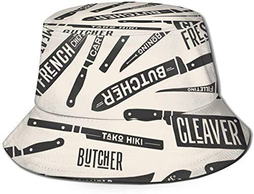 DUTRIX Flat Top Atmungsaktive Unisex Kuh Textur Schwarz-Weiß-Fleck Haut Fell Eimer Hut Sommer Fischerhut-Fleisch schneiden Chef Metzger Messer-One Size