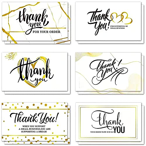 120 Thank You Business Cards Small Thank You for Your Order Shopping Purchase Note Cards to Customer, Gold Design Appreciation Cards for Small Business Online Owners Sellers, 3.5 x 2 Inch