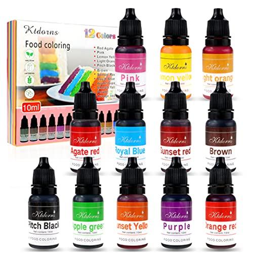 Lebensmittelfarbe Lebensmittelfarbe Flo Konzentrierte flüssige Lebensmittelluftbürste - 12 Farben (12x10ml)