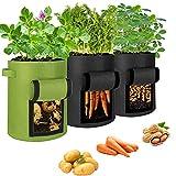 Bolsa de cultivo para patatas, bolsa para plantas, bolsa de cultivo de 43 l con asas y ventana, bolsa transpirable para plantar patatas, flores, plantas, verduras (3 unidades)