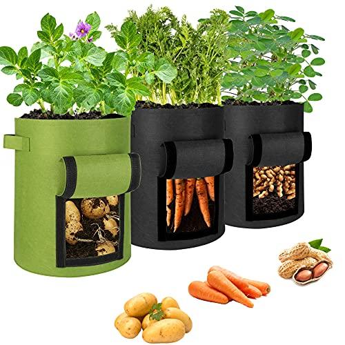Bolsa de cultivo para patatas, bolsa para plantas, bolsa de cultivo de 10 galones con asas y ventana, bolsa transpirable para plantar patatas, flores, plantas, verduras (3 unidades)