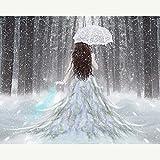 Kit de punto de cruz DIY diamante bordado paraguas chica completo cuadrado/redondo diamante pintura mosaico decoración del hogar, redondo 70x100cm