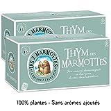 Les 2 Marmottes Infusion Thym des Marmottes - Anti rhume - Bien-Être et Relaxation - Pour dégager les voies respiratoires - 30 Sachets par boite - Made in France, Lot de 2