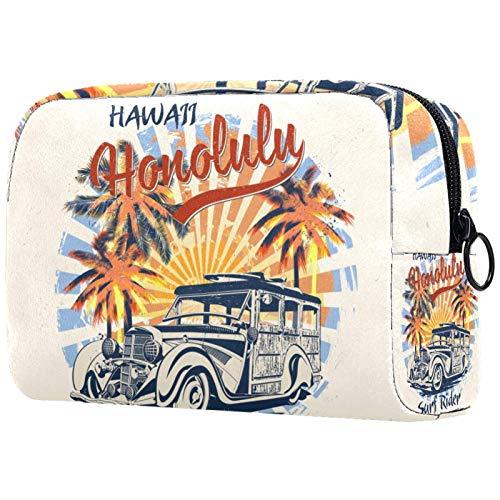 Honolulu Typography - Borsa da viaggio impermeabile per cosmetici, da donna, adorabile e spaziosa borsa da viaggio