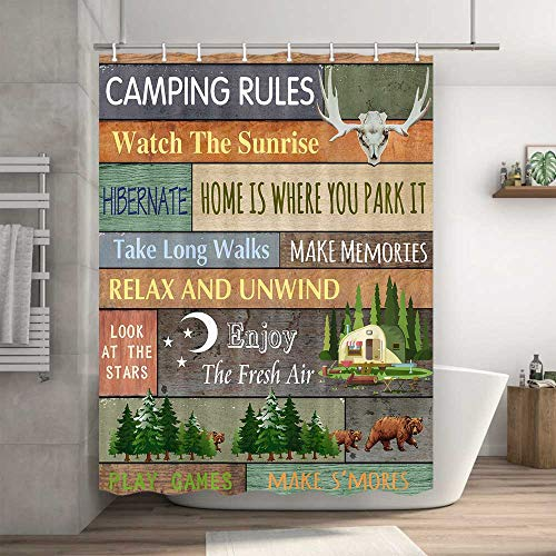 """Camper RV Shower Curtain, Camping Tent with Trees Rustic Shower Curtain for Trailer, Shorter and Narrow Camper Stall Shower Curtain with Hooks, Cabin Lodge Shower Curtain for Small Bathroom, 47""""X64"""""""