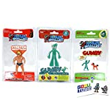 Worlds Smallest Gumby, Pokey, Stretch Armstrong (3 Pack) with 2 GosuToys Stickers