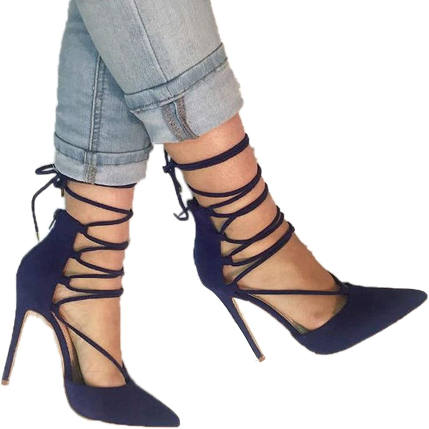 Summer Sandals for Women High Heels Dark bluee Lace up Pointed Toe Ladies Heeled Sandal shoes