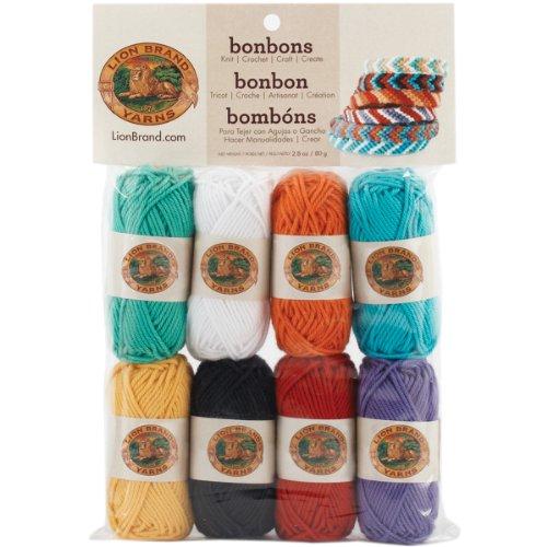 Lion Brand Yarn Company Beach - Gomitoli Bonbons, Colori accesi, Multicolore
