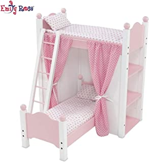 Emily Rose 18 Inch Doll Bed Furniture for American Girl Dolls | Loft Bunk Bed with Shelving Units and Removable Single Bed, Includes Ladder | Fits American Girl Dolls
