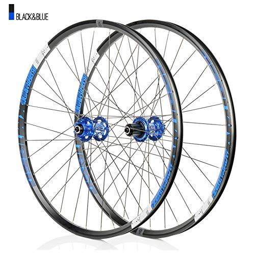 Juego ruedas Conjunto bicicleta montaña Azul MTB doble pared Aleación aluminio Cubo rueda libre Freno disco llanta Liberación rápida Rodamientos Ciclismo delantera rueda trasera,8-12 velocidad,27.5'