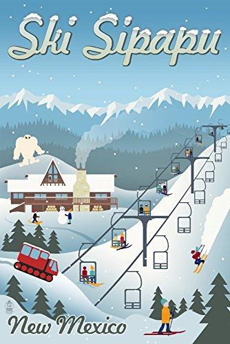 Sipapu, New Mexico - Retro Ski Resort (12x18 Art Print, Wall Decor Travel Poster)