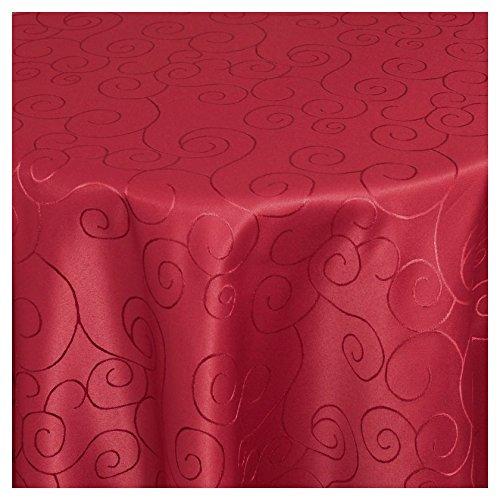 TEXMAXX Tischdecke im Ornamente Design - 140 x 190 cm oval in Wein-Rot - weitere Formen, Farben und Größen sind wählbar