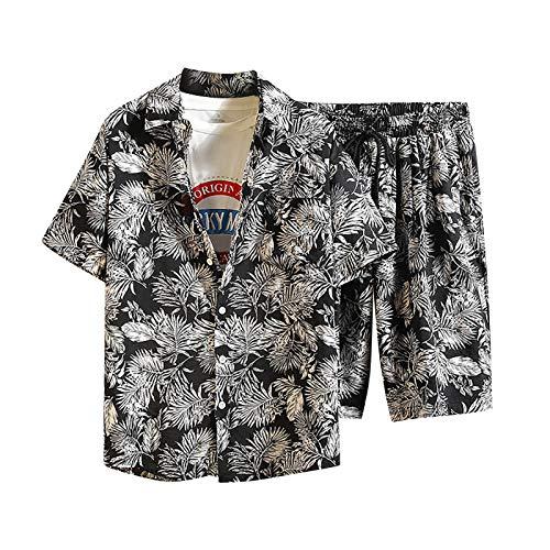 Shirt Set T-Shirt Top Zweiteiliger Anzug Herren Lässig Bedruckte Shorts mit Kordelzug (Top + Hose) (L,2schwarz)
