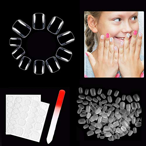 600 PCS Short Clear False Nails for Little Girls, Natural Acrylic Fake Nail Tips for kids, Children Full Cover Press on Nails with Nail File and Nail Adhesive Tabs (10 Size)