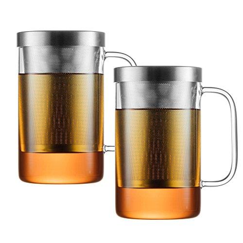 PURE550S x2: Teegläser Set mit Henkel mit Sieb und Deckel, 500 ml Nutzvolumen