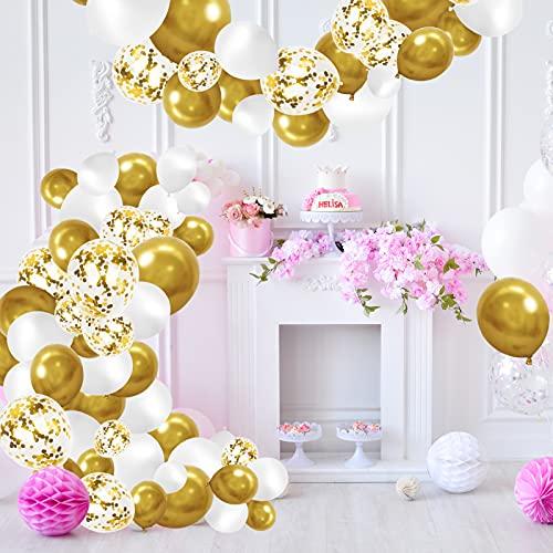 Palloncini Oro, Palloncini Dorati, 123 Pezzi Palloncini Kit Ghirlanda Arco, Palloncini Oro e Bianco Usato per Matrimonio, Baby Shower, Laurea, San Valentino,Cerimonia Party Decorazioni