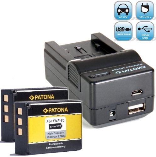 2X PATONA Ersatz für Akku Fujifilm NP-85 (1700mAh) - mit Ladegerät 4in1 - Finepix S1 SL1000 SL300 usw - mit MicroUSB Eingang