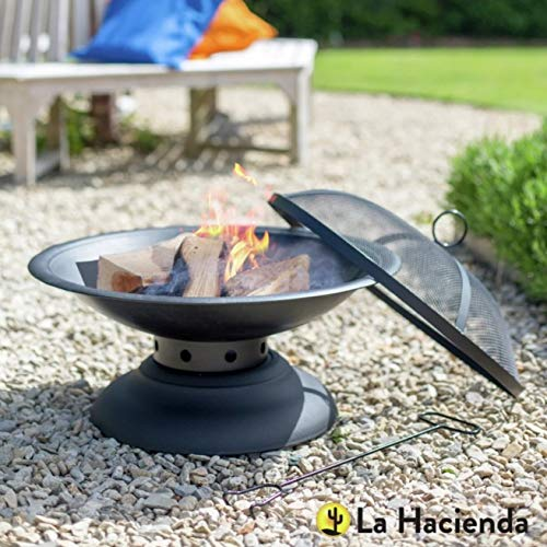 La Hacienda Log Burner / Large Fire Pit Set with Grate Tray, Pedestal Stand & Spark Guard in Red (Tall Garden Patio Heater, BBQ Chimenea)