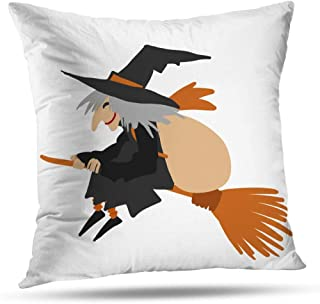 WAYATO Christmas Decorative Pillow Covers, Double-Sided Pattern Pillow Cushion Cover Christmas Witch Flying Broom with Bag Her Celebration Old Invisible Zipper for Sofa Bedroom 18 x 18 inch