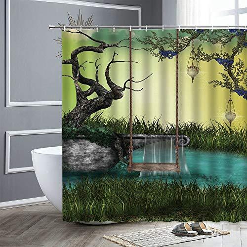 XCBN Cortina de Ducha de Bosque de fantasía de Dibujos Animados pájaro Mariposa búho Planta Verde Paisaje Cortina de Ducha Impermeable decoración A12 150x200cm