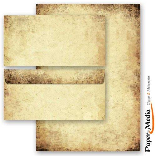 20-tlg. Motivpapier Komplett-Set ALTES PAPIER 10 Blatt Briefpapier und 10 Briefumschläge DIN LANG ohne Fenster