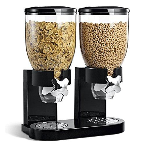 BAKAJI - Dispensador para Cereales, Pasta, Caramelos, Dulces, Fruta Seca Individual con Ruedas, Doble contenedor de 8 litros y dosificador Interior, Color Negro