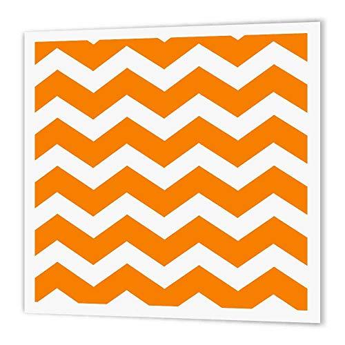 3dRose ht_179678_3 Transferpapier zum Aufbügeln, Zickzack-Muster, helles Zickzack-Muster, für weißes Material, 25,4 x 25,4 cm, Orange/Weiß