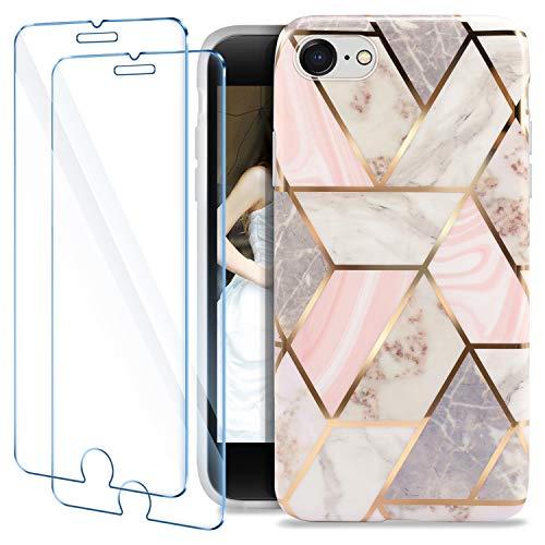 AROYI Hülle für iPhone SE 2020 Silikon Schutzhülle Marmor Glitzer+2 Stück Panzerglasfolie iPhone SE, TPU Weiche Anti-Kratzer Handyhülle für iPhone SE 2020/iPhone 7/iPhone 8 Rosa