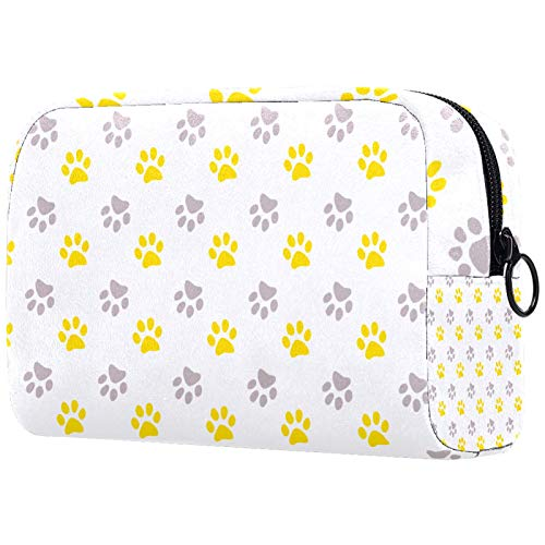 Cosmetic Bag Womens Waterproof Makeup Bag for Travel to Carry Cosmetics Change Keys etc Yellow and Gray Paw