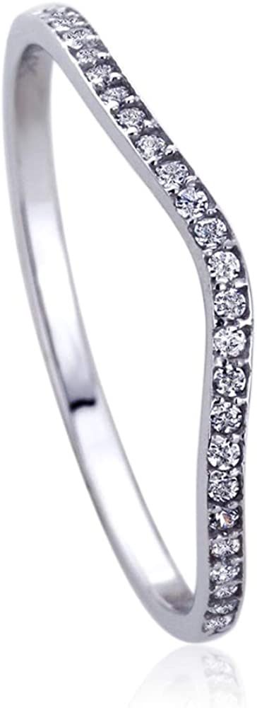 Solid 14K White Gold Ring Round CZ Stone Pave Curved Tracer Wedding Anniversary Ring (Size 5 to 9)