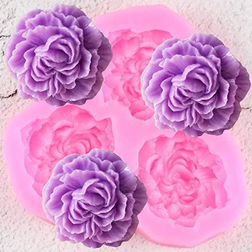 Fewear Pfingstrosen-Blumen-Silikon-Formen für Hochzeitstorten und Dekorationen, für Cupcakes, Fondant, Harz, Ton, Süßigkeiten, Schokolade