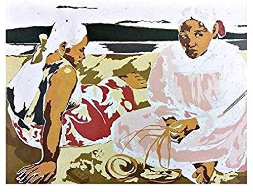 Kits de pintura por número Una mujer de Tahití en la playa para niños adultos Regalo 40x50cm-With Frame